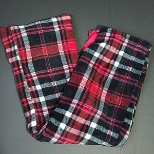 Plaid Red Black Fleece Lounge Pants